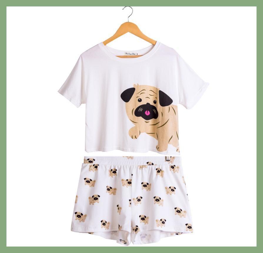 db3777a8 Cute Dog Pajama Set Women Pug Print 2 Pieces Set Crop Top + Shorts Elastic  Waist