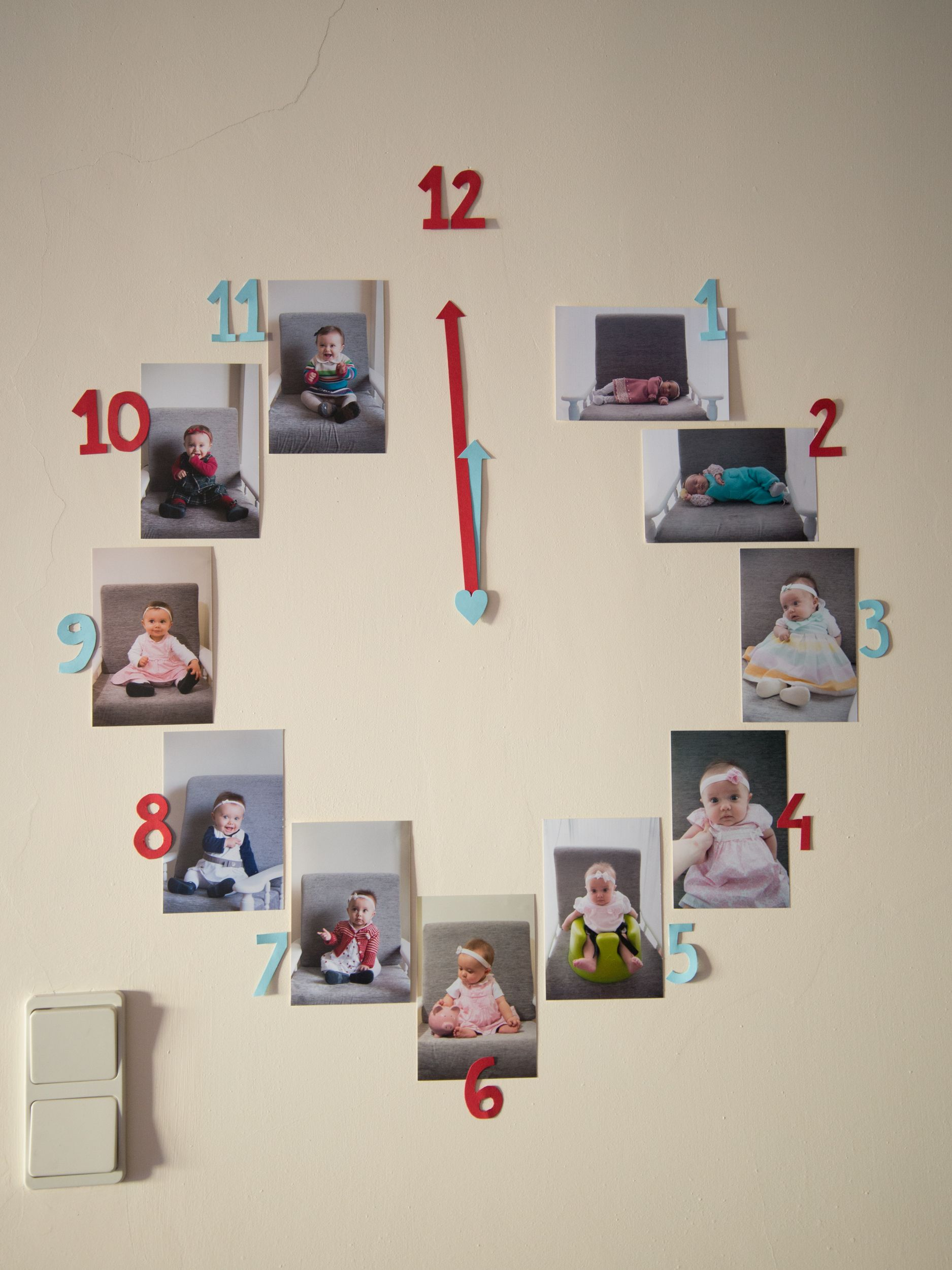 Clock With Photos From The First Year Of Life Party Decoration Red And Blue Birthday One Old