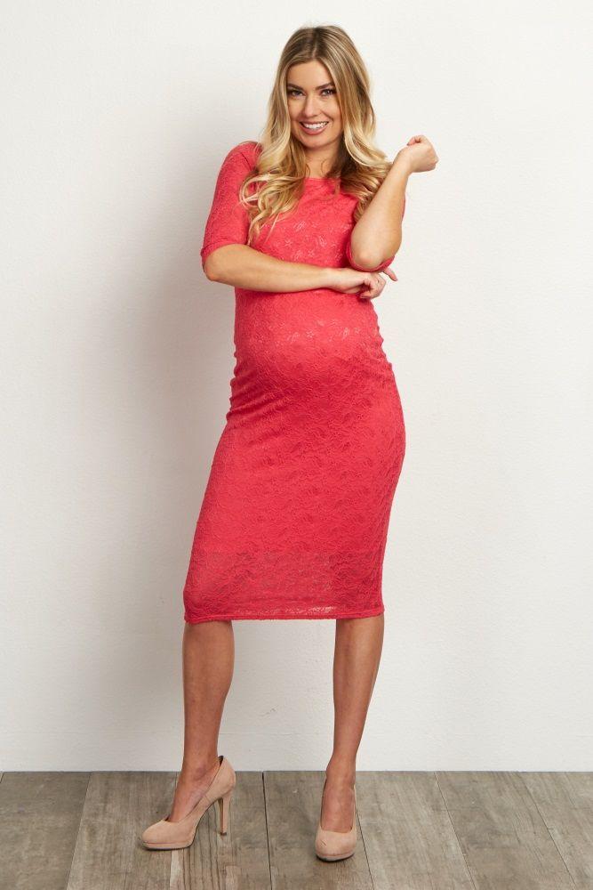 960a4992dcf Fuchsia Lace Maternity Dress
