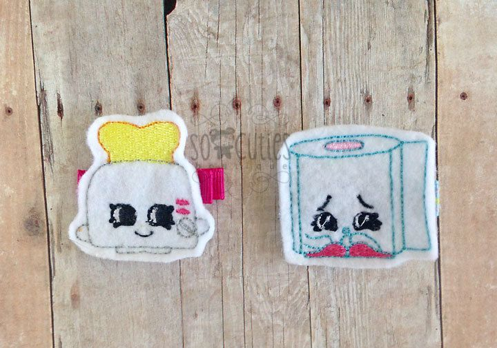 Shopkins Household Felt embroidery hair clip, baby hair clip, girl hair clip, barrette, felt hair clip by soCuties on Etsy