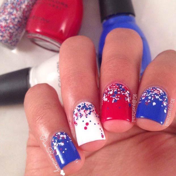4th Of July Nail Art Ideas Blue Nails Usa Nails Trendy Nails