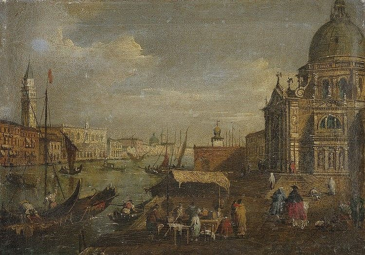 olio su tela, cm 24 x 34 <br> <br> Follwer of Francesco Guardi,19th ...
