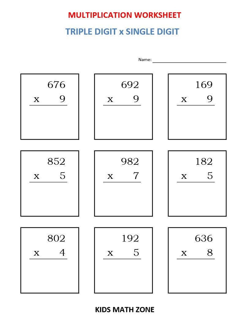 Excited To Share This Item From My Etsy Shop Multiplication Triple Digit X Single Digit 1 Math Addition Worksheets Math Worksheets Printable Math Worksheets