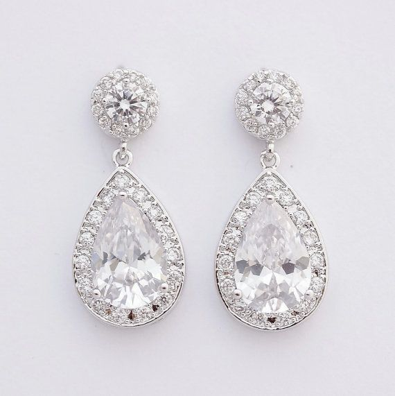 Crystal Bridal Earrings Cz Wedding Halo Style Drop