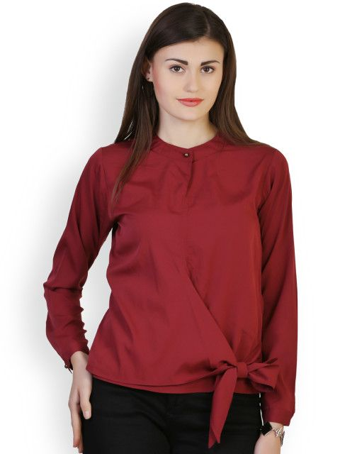 6fa9b21a1898c8 Buy Belle Fille Maroon Top - Tops for Women | Myntra | Sassy clothes ...