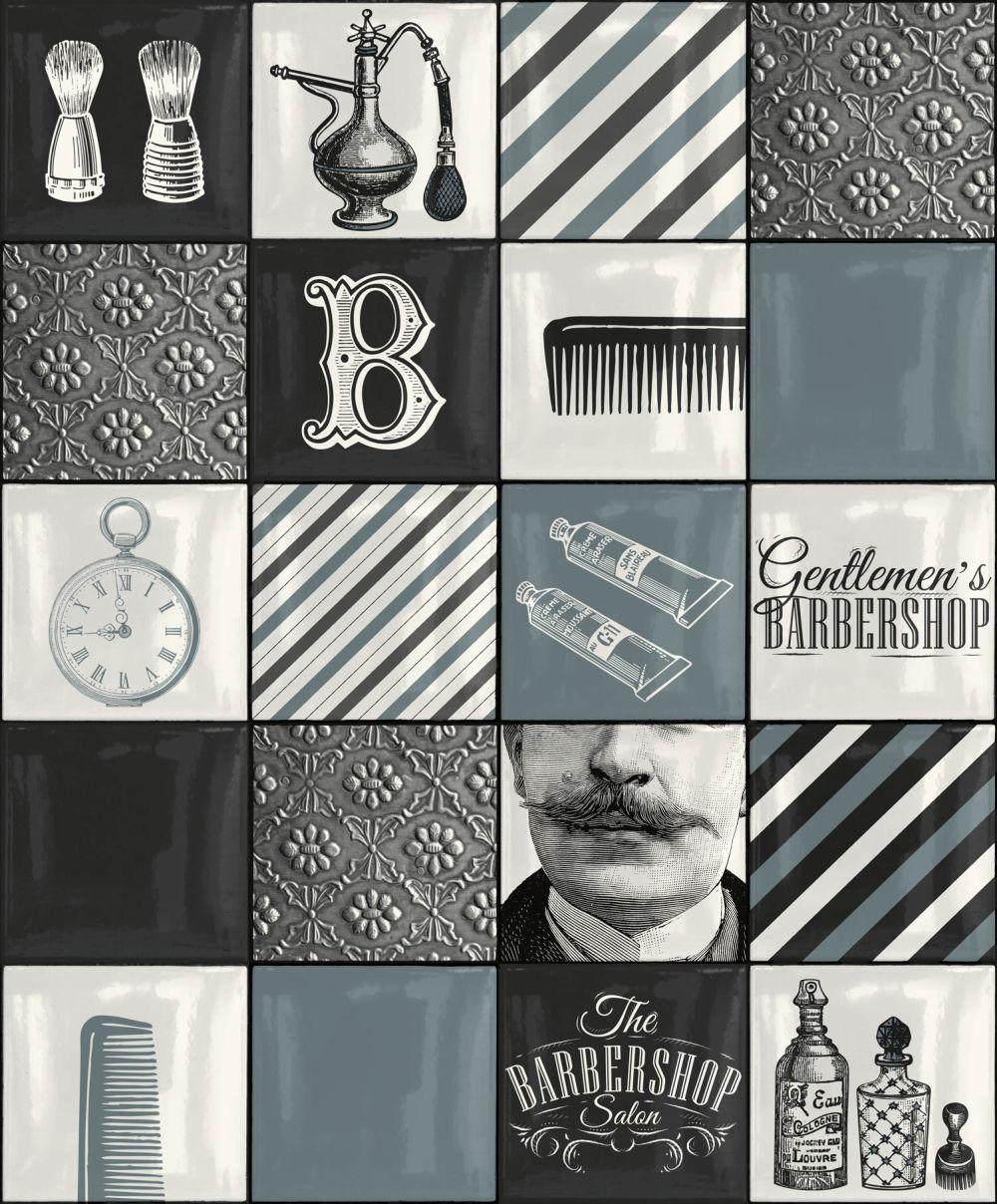 Barber Shop Tile By Albany Blue Wallpaper Wallpaper Direct Barber Shop White Wallpaper Barber Shop Interior