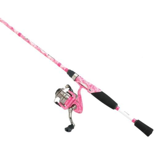 Girls ladies pink camouflage fishing pole 6 5 ft graphite for Camo fishing pole