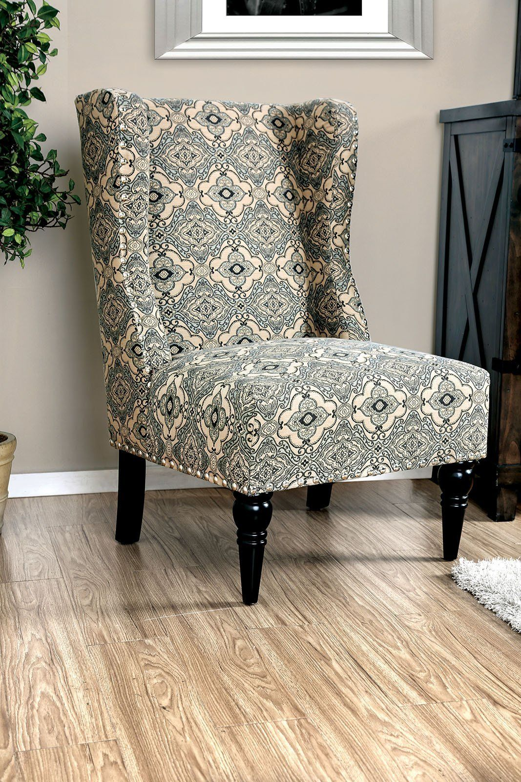 Best Patterned Fabric Upholstered Accent Chair With Wingback 400 x 300