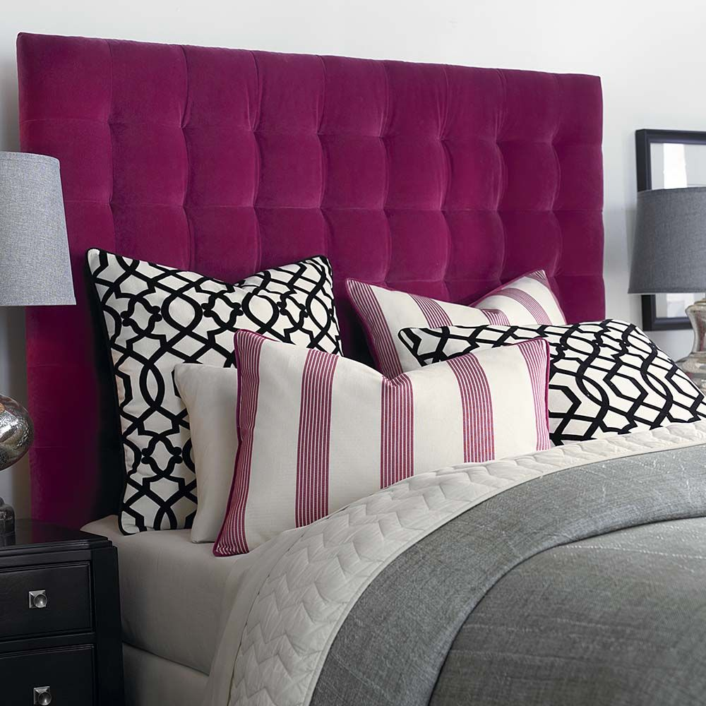 Delightful Hot Bedroom For A Hot Couple   A Plush Headboard Makes The Perfect Backdrop  For Bold Geometric And Striped Pillows.