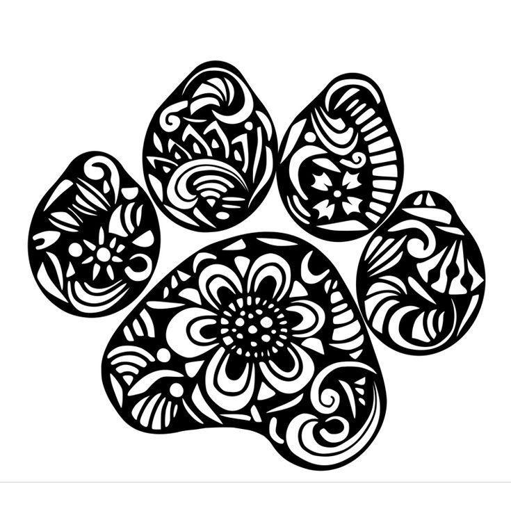 Zentangle Doodle Paw Print SVG