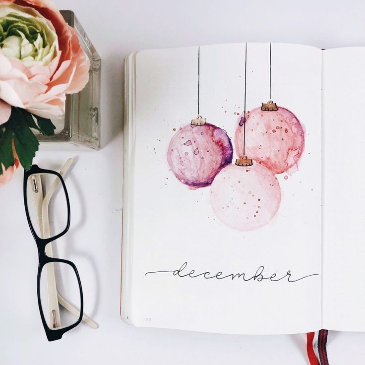 "Photo of Cam | Bullet Journal + Coffee on Instagram: ""Oh hai December. I loved playing with watercolors last month so much that I'm going to keep going. My Christmas tree is pink and gold this…"""