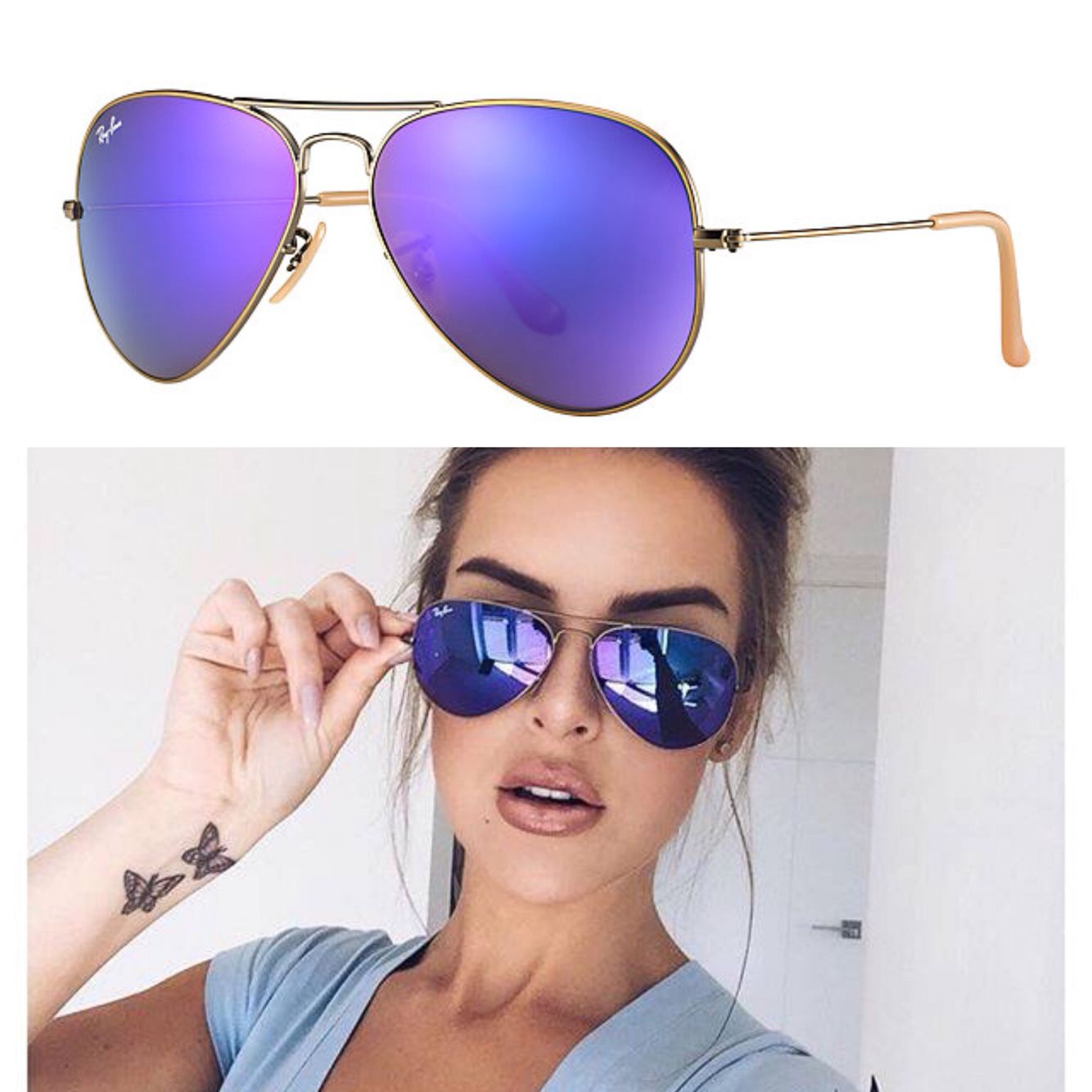e34b49568d3 Ray-Ban Aviator Flash - Purple ✓ https   tmblr.co