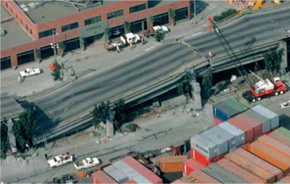 earthquake damage on cypress freeway structure in oakland in 1989 sf earthquake