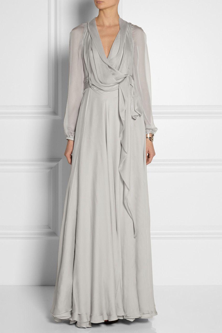 Saint Laurent | Wrap-effect silk-mousseline gown | NET-A-PORTER.COM ...