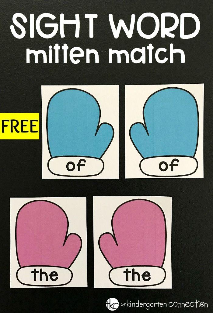 Sight Word Matching Mittens - Winter Literacy Center | Pinterest ...