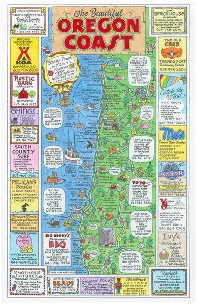 Oregon Coast Maps Graphics Oregon Coast Oregon Coast