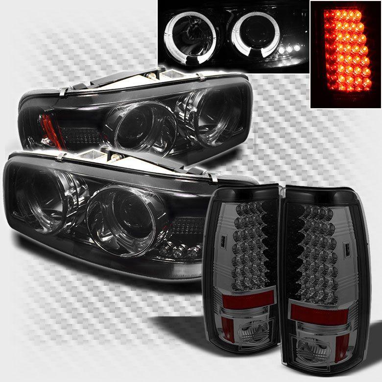 Smoked 04 06 Gmc Sierra Halo Projector Headlights Lights Led Tail Head
