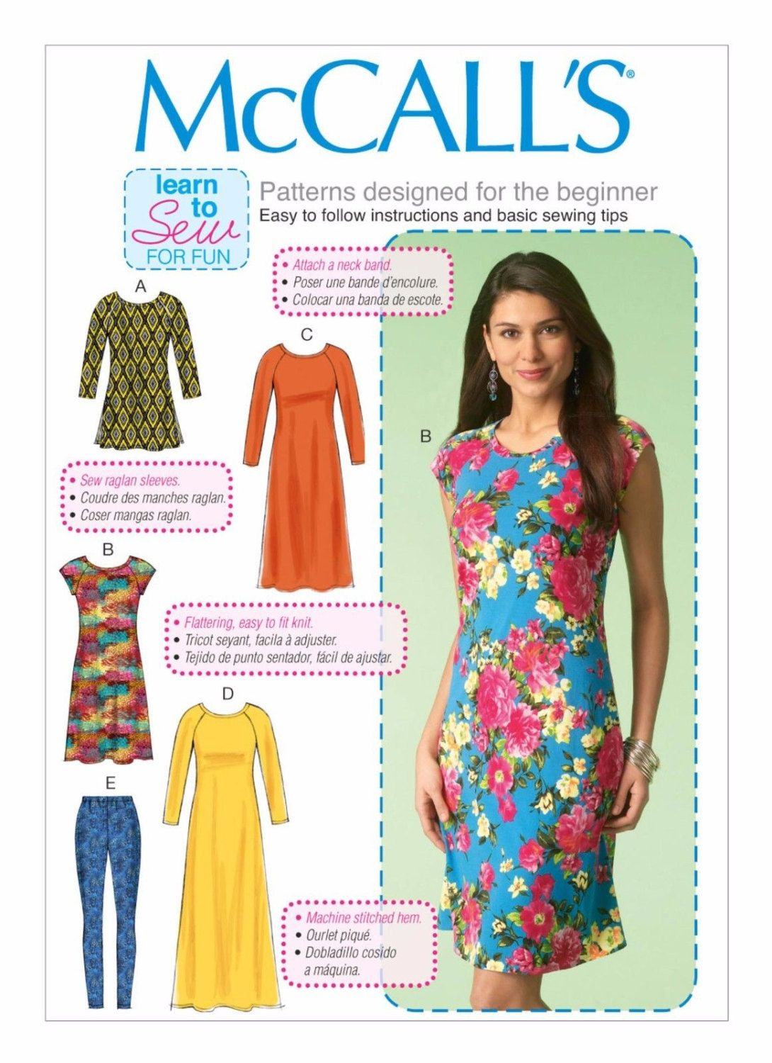 Learn to Sew Pattern - McCalls 7122 - New Sewing Pattern, Sizes X ...