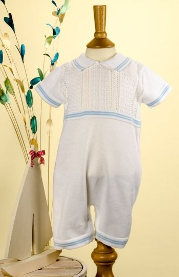 Pretty Originals Style JP52000 White Knitted Romper with Pale Blue Trim