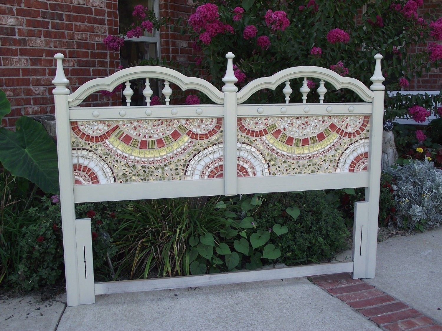Hand Crafted Broken China Mosaic Headboard by Vintage Butterfly Mosaics   CustomMade.com