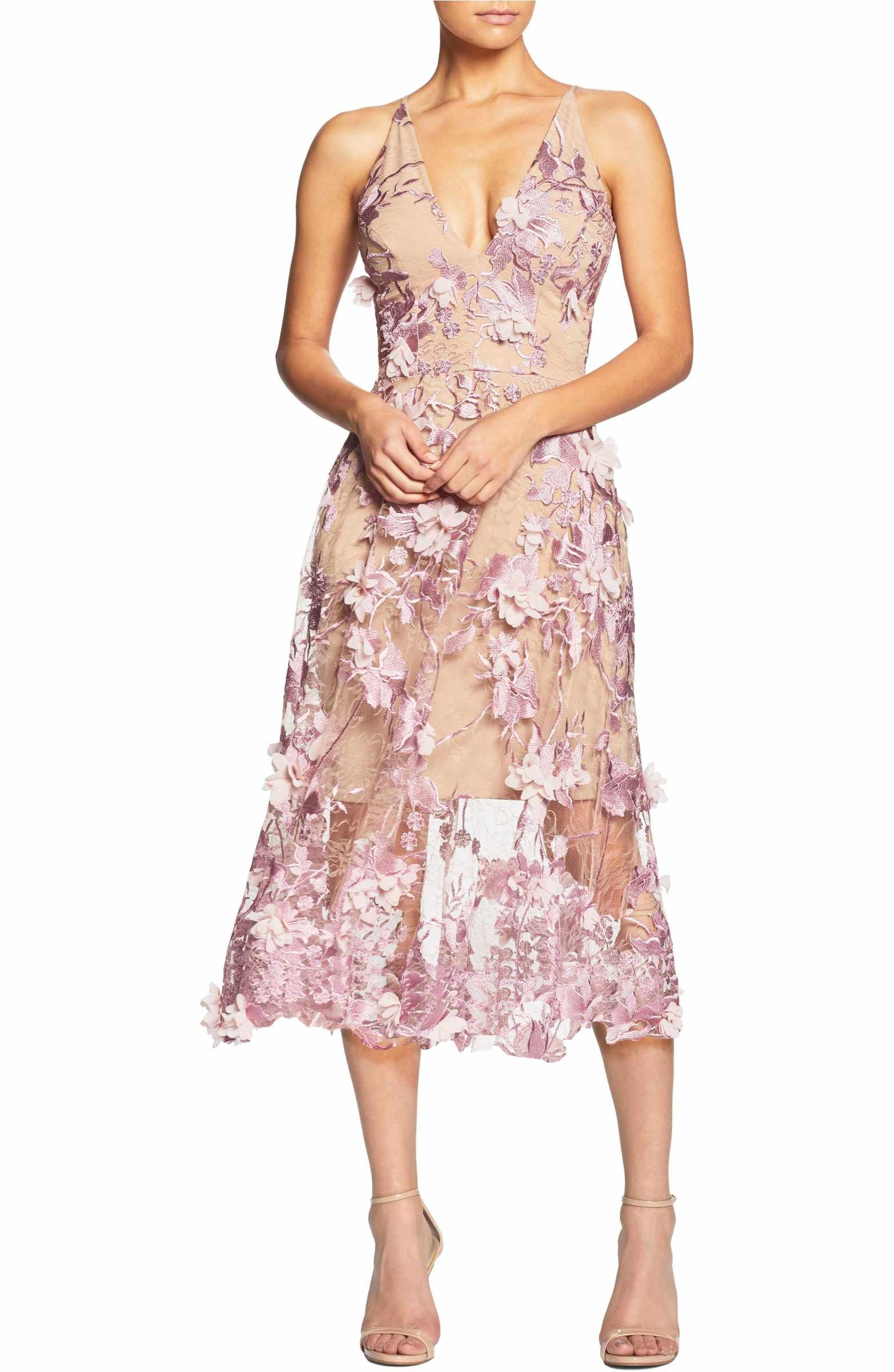 Dress The Population Audrey Embroidered Fit Amp Flare Dress