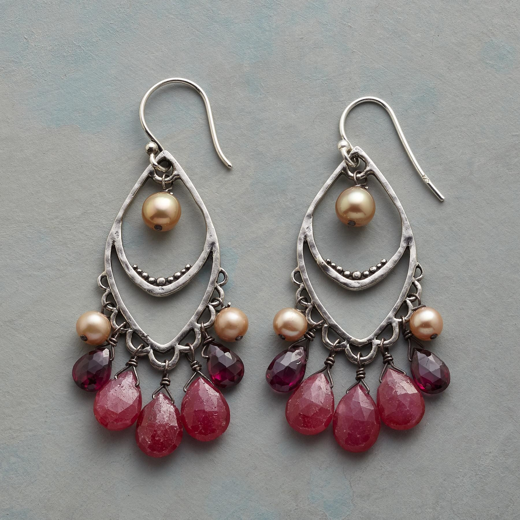 Spanish Nights Earrings Ruby Rhodalite Garnet And Champagne Pearls In Handcrafted Sterling Silver With Lacy Edges Finely Beaded