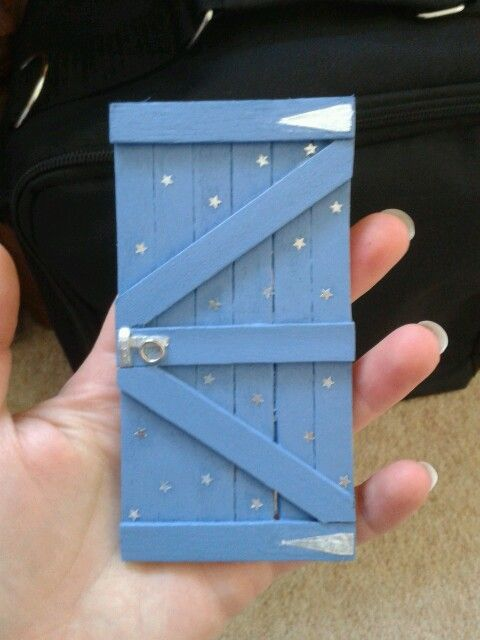 Photo of Faerie door made with lolly pop sticks. Replica of my garden gate.