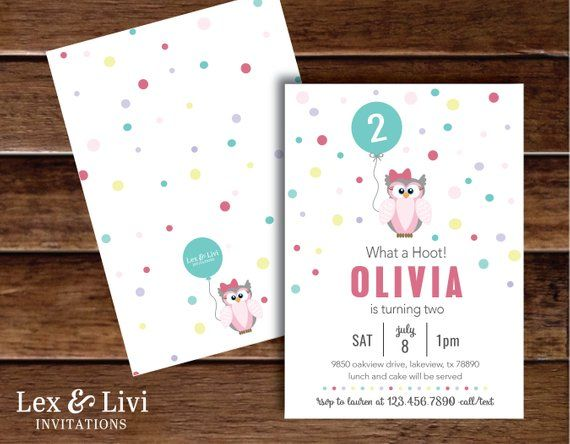 Owl Birthday Invitation Girls Owl Invitations 1st Birthday Owl