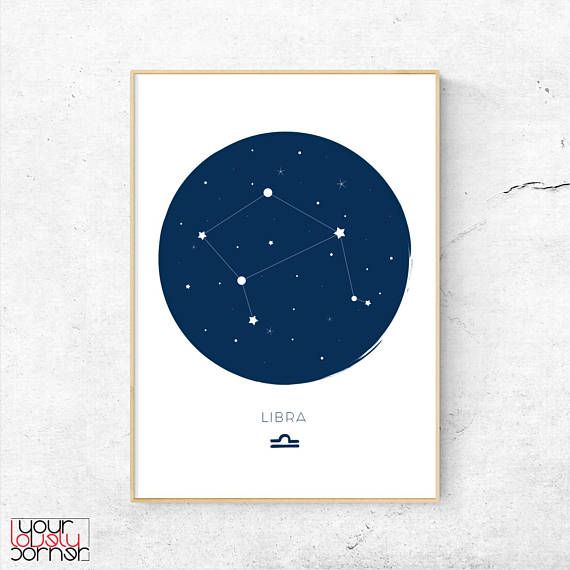 Libra Zodiac Sign Print Libra Constellation Wall Art Libra ...