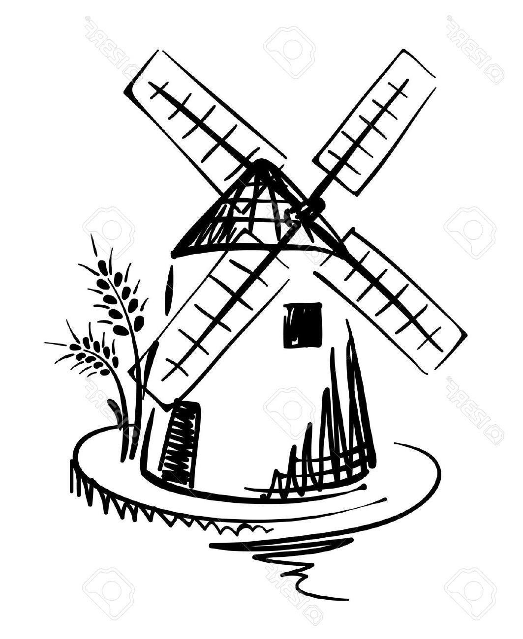 Windmill Vector Drawing Real Clipart And Vector Graphics Windmolens Beschilderde Steentjes Stap Voor Stap Tekenen