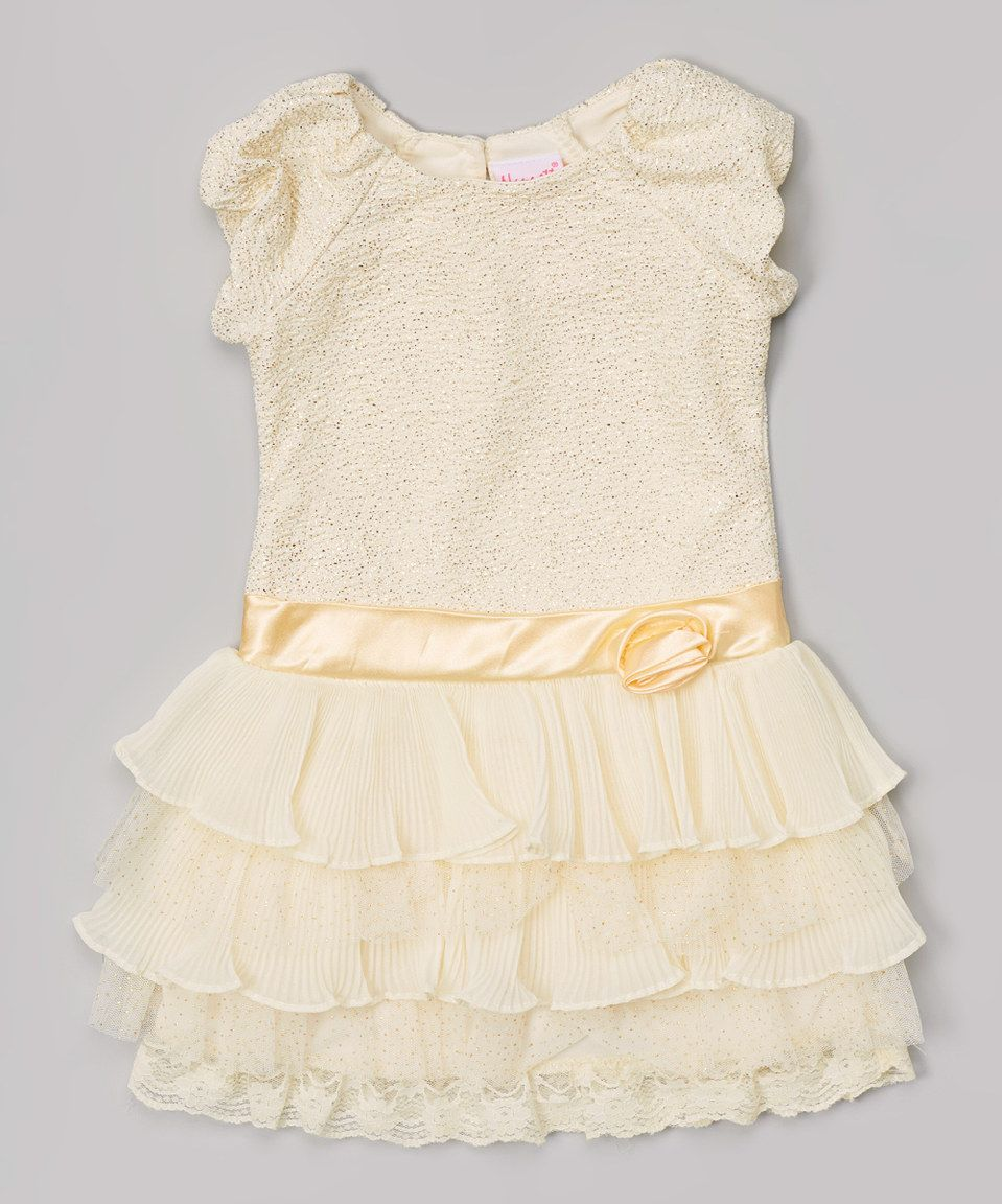 Pink and gold dress for kids  Nannette Gold Lace Tiered Dress  Toddler  Toddlers Lace and Dresses