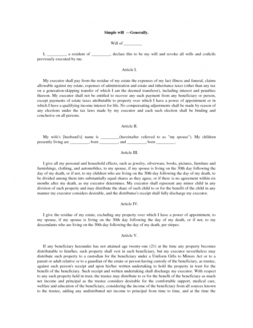 Free Florida Last Will And Testament Template Pdf Word Sample Doc
