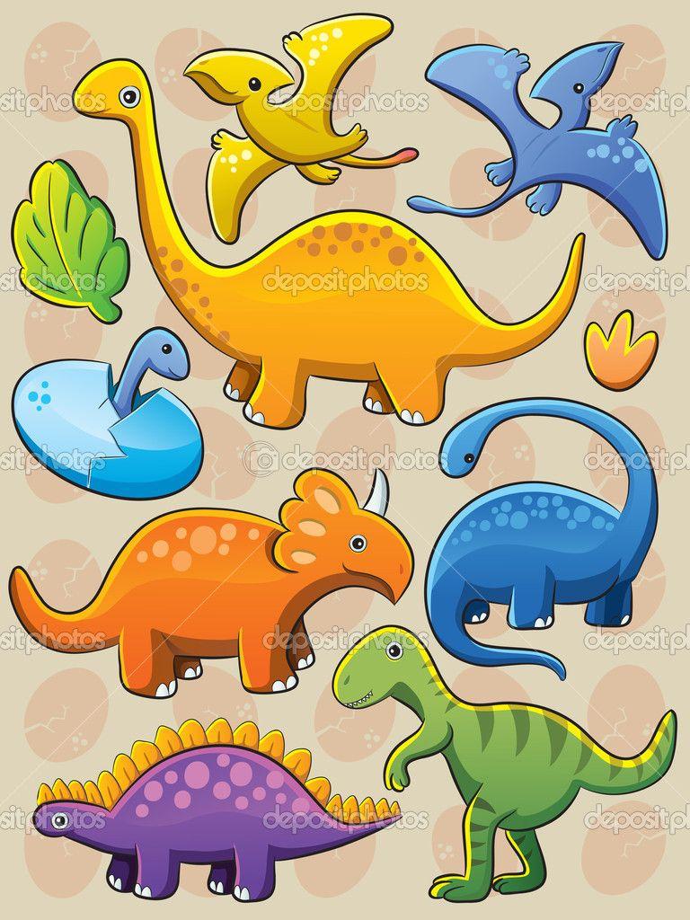 Cartoon illustratie van verschillende baby dinosauriërs