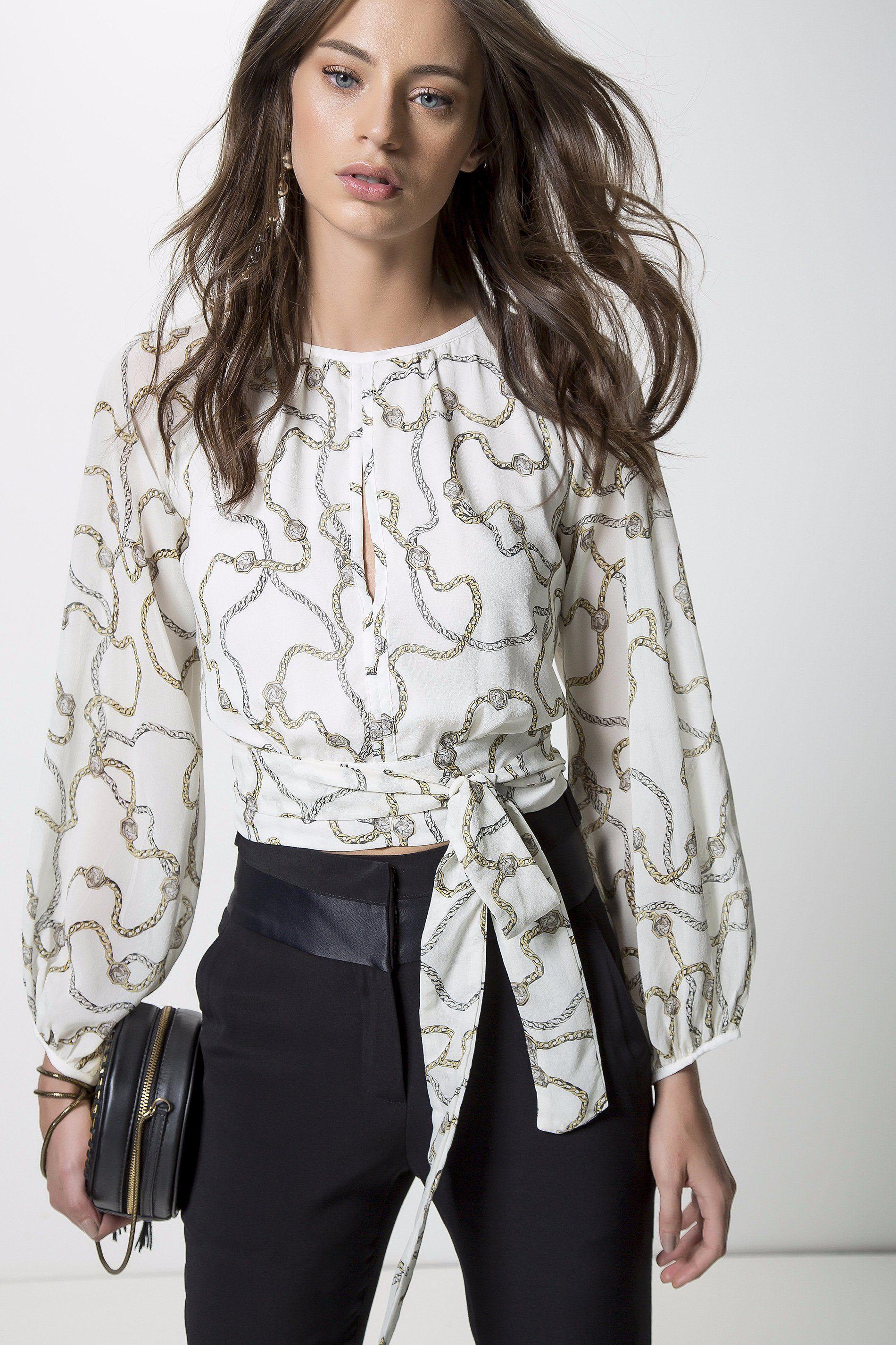 d1a028575 BLUSA SEDA SIENA OFF P | ANIMALE | moda | Blusas, Blusas de seda e ...