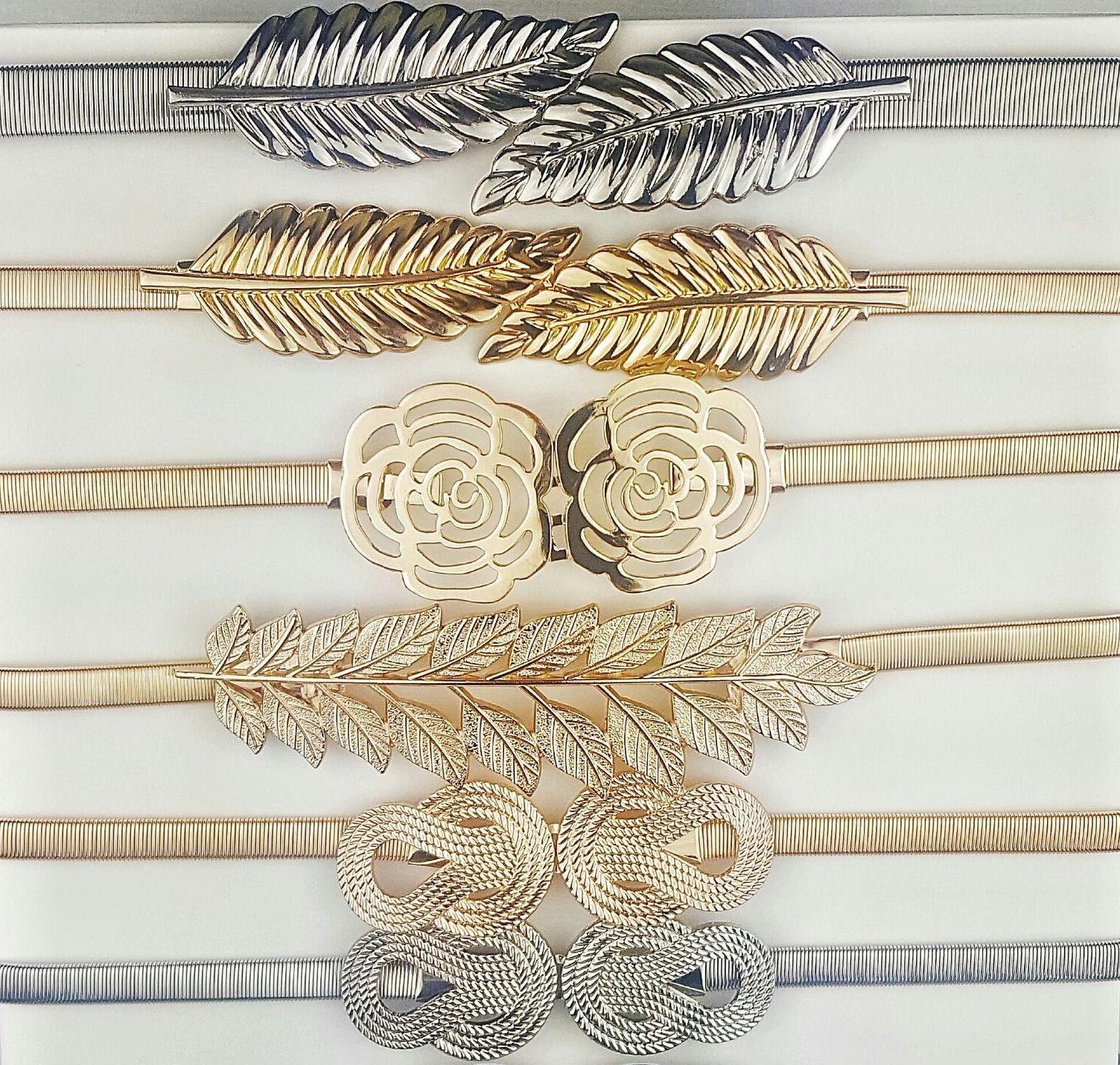 Cinturones metalizados con cintura elástica para vestidos de fiesta.  Distintas hebillas 22c356219358