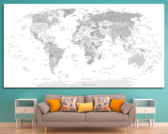 Large Gray World Map Push Pin Map Of The World Grey World Travel Map Print Personalized World Map Wall Art Custom Map With States Home Decor Map Wall Art World Map