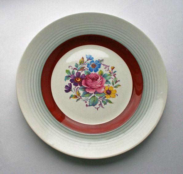 Midwinter Burslem Porcelain Plate, 1940's English china by gardenfullofVintage on Etsy