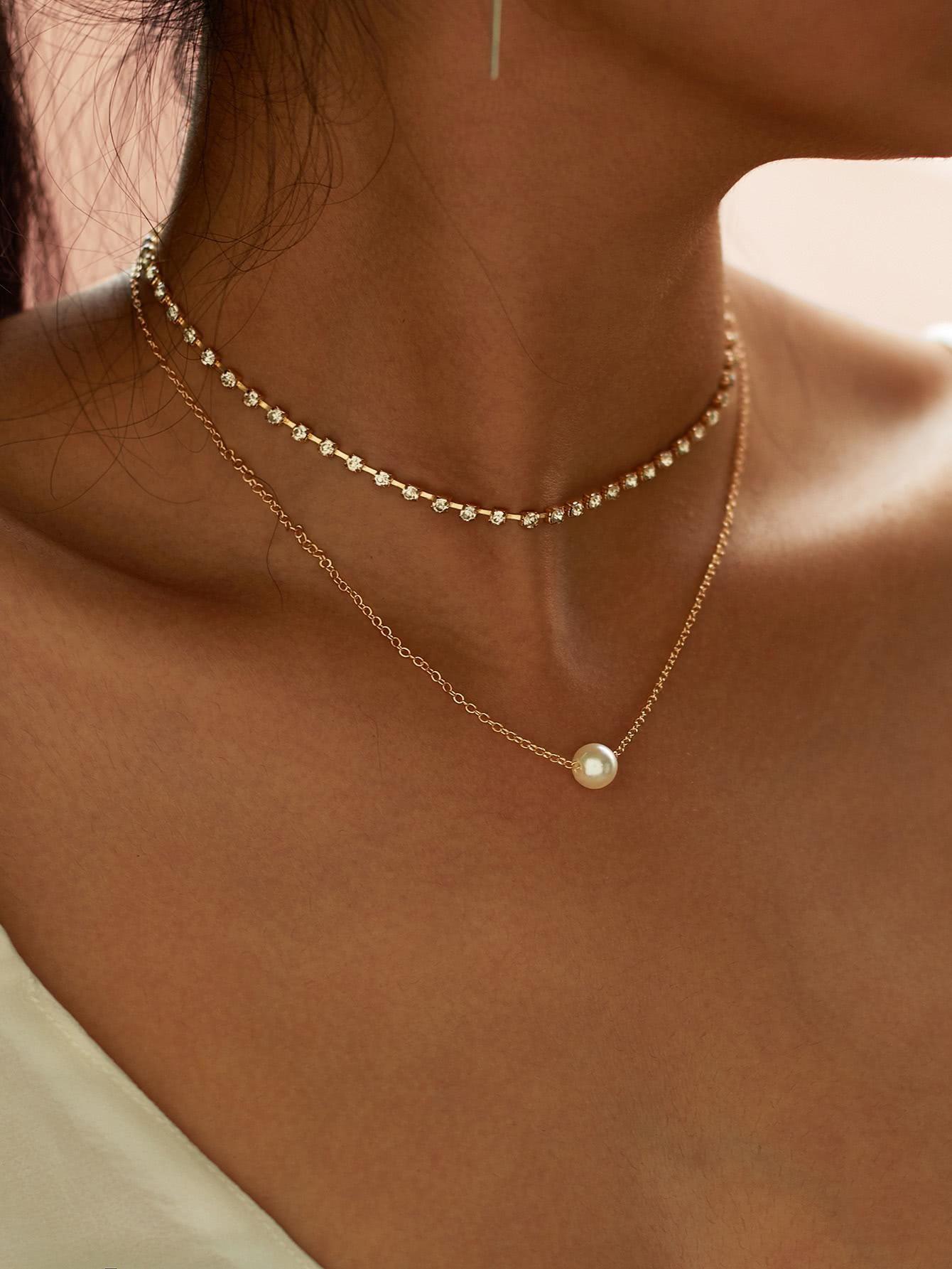 e0c20f7198 SheIn - SheIn Faux Pearl Pendant Rhinestone Choker Necklace 2pcs -  AdoreWe.com