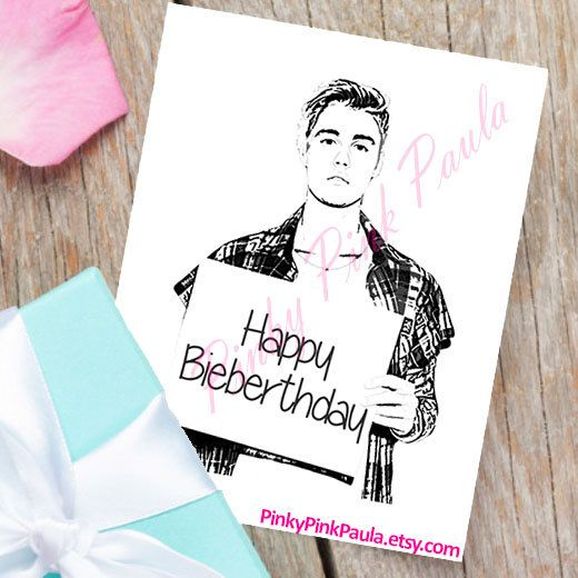 Justin Bieber Card Funny Birthday Card By Pinkypinkpaula On Etsy