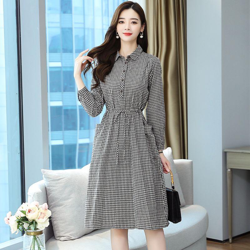 Slim loose autumn Korean style long plaid dress for women AD15948