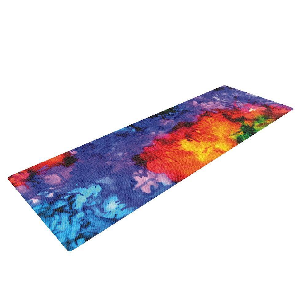 Claire Day Karma Rainbow Paint Yoga Mat Rainbow Painting Print Yoga Mat Karma Design
