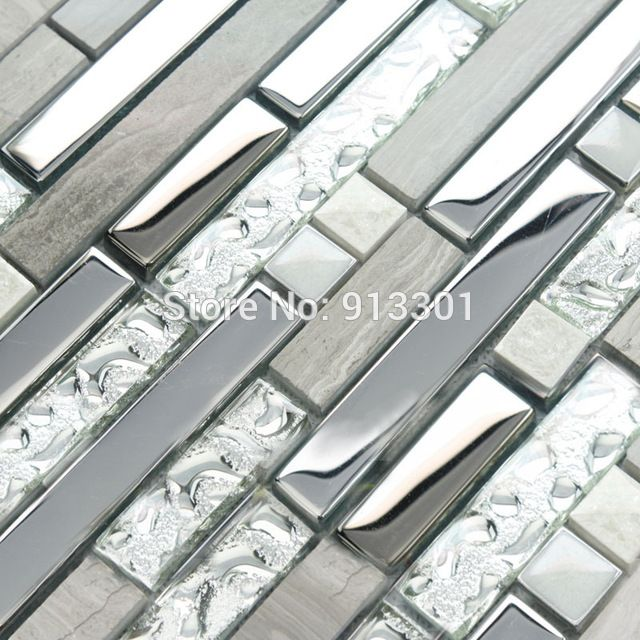 De vidrio y metal backsplash azulejos de la cocina de acero ...