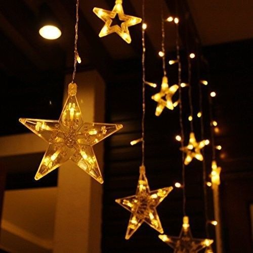 christmas star lights 12pcs icicle connectable curtain string 108 leds 8 modes christmas stars curtain lights and star