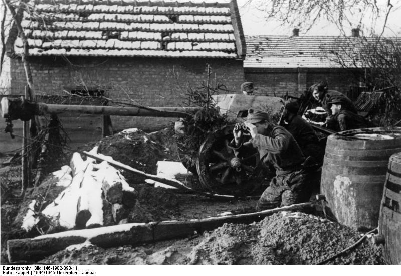 German 50 Mm Anti Tank Gun: German Anti-tank Gun During The Fighting Inside Budapest