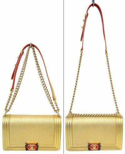 6ad7475e26168a Chanel Metallic Gold Embossed Cube Boy Flap Shoulder Bag 2014 | Lollipuff