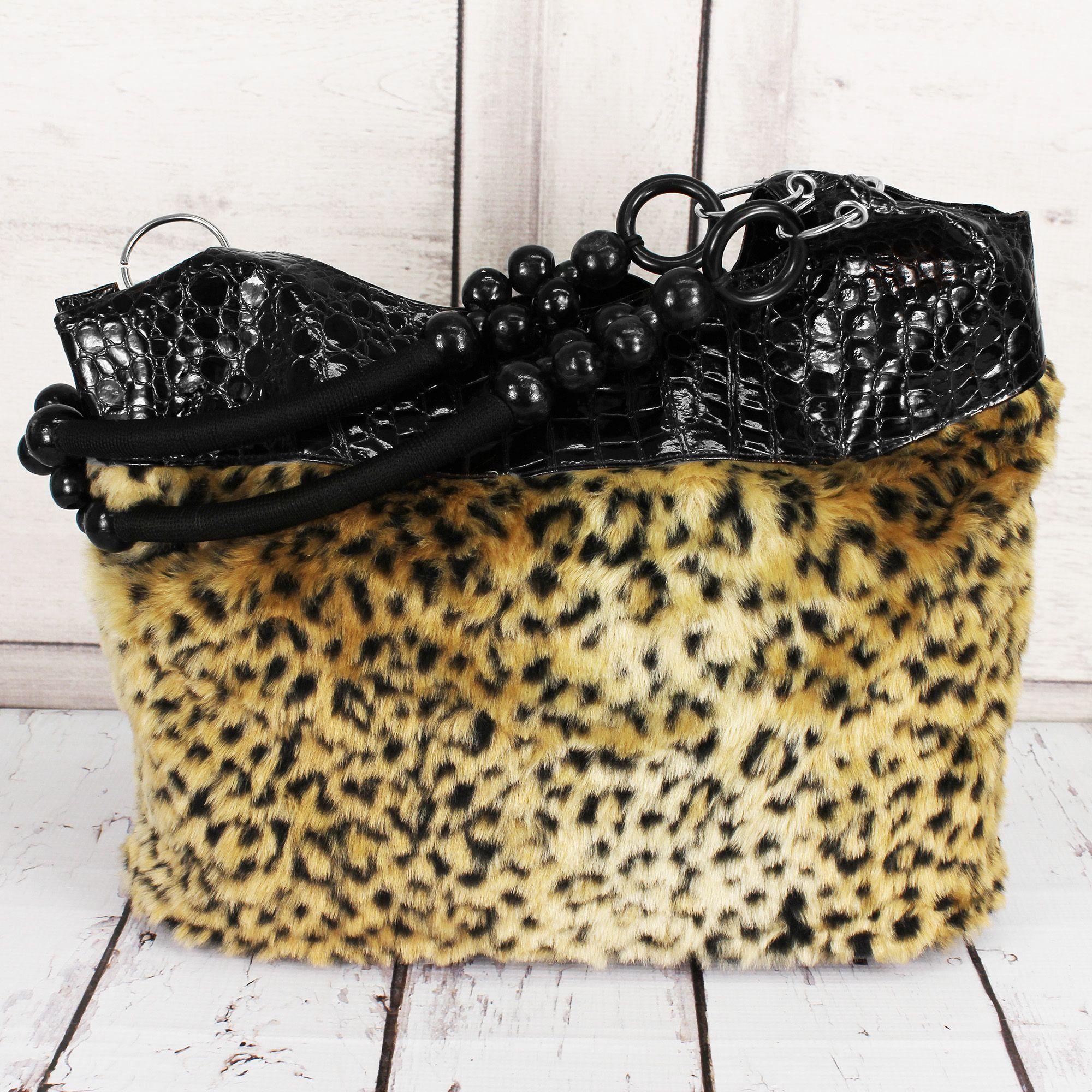 SALE! Faux Leopard Fur Shoulder Bag with Brown Croco Trim #HBG90841BR (DD1)