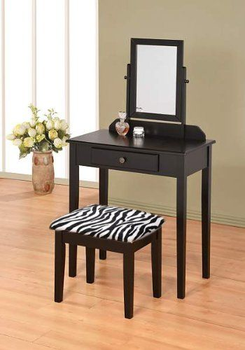 Merveilleux Under $100 Black Vanity Set With Zebra Bench / Stool, Makeup Drawer And  Mirror