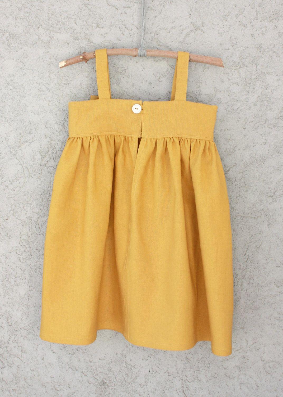 33b05fa273f99 Mustard Yellow Big Bow Dress back.