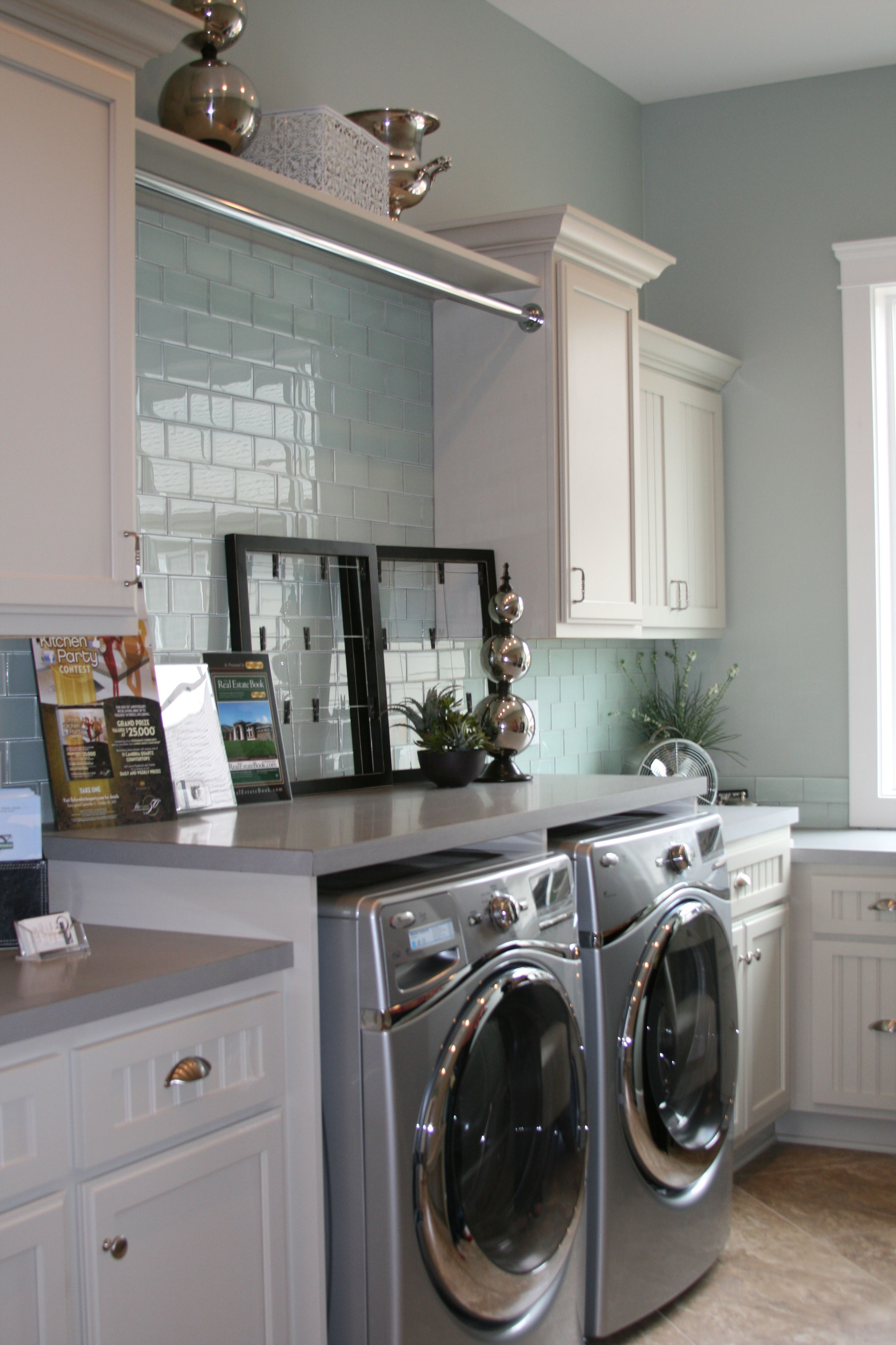 Vapor glass subway tile laundry blue grey and washer for Laundry room office