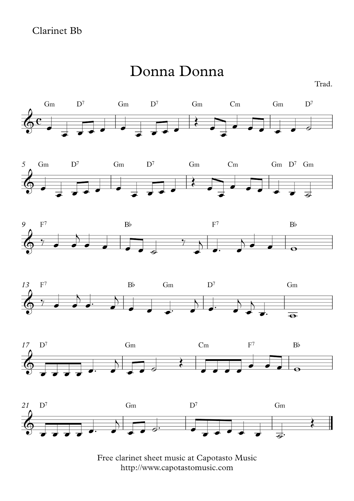 Donna Donna Free Clarinet Sheet Music Partituras Pinterest